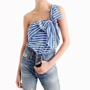 J. Crew One shoulder Bow blouse striped size 10